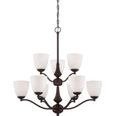 Rockford 9-Light Shaded Chandelier Finish: Prairie Bronze, Bulb Type: T2 Mini Spiral