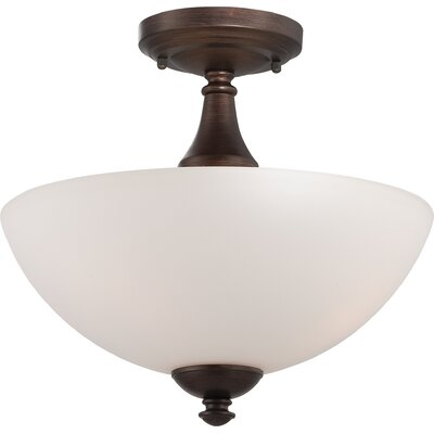 Rockford 3-Light Semi Flush Mount Color: Prairie Bronze, Bulb Type: T2 Mini Spiral