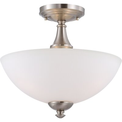 Tecca 3-Light Semi Flush Mount Finish: Brushed Nickel, Bulb Type: T2 Mini Spiral
