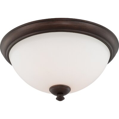 Rockford 3-Light Flush Mount Finish: Prairie Bronze, Bulb Type: T2 Mini Spiral