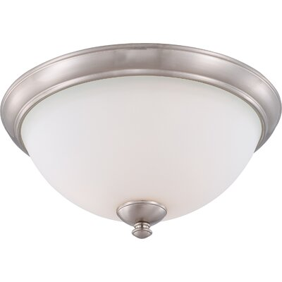 Rockford 3-Light Flush Mount Color: Brushed Nickel, Bulb Type: T2 Mini Spiral