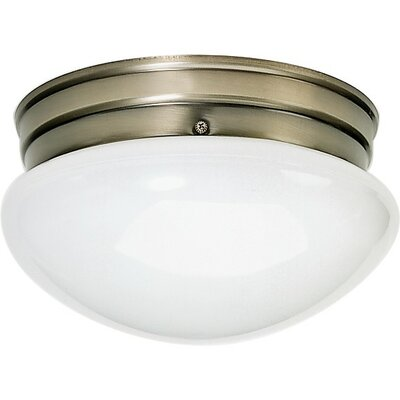 2-Light Flush Mount Shade Color: White, Finish: Antique Brass