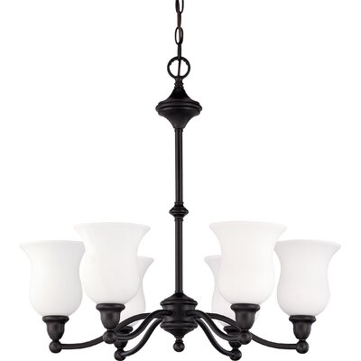 Glenwoord 6-Light Shaded Chandelier Energy Star: No, Finish: Brushed Nickel