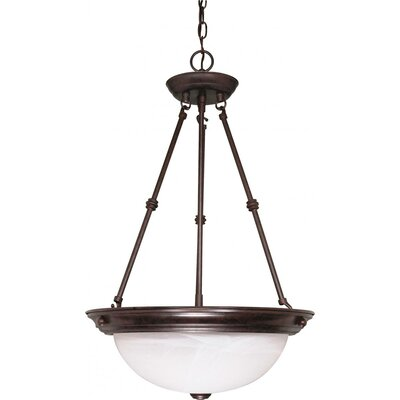 3-Light Inverted Pendant Size: 23 H x 15 W