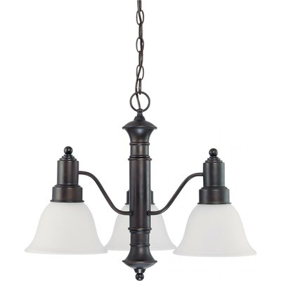 Mayhugh 3-Light Mahogany Bronze Shaded Chandelier Energy Star: No