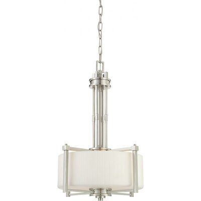 Ridley 3-Light Pendant Finish / Glass Color: Brushed Nickel / Satin White