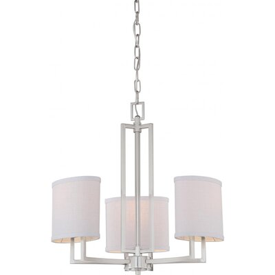 Gemini 3-Light Shaded Chandelier Finish / Shade Color: Brushed Nickel / Slate Gray Fabric