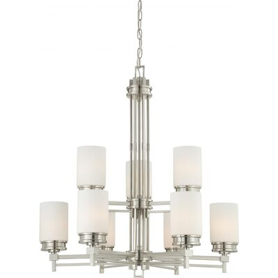 Ridley 9-Light Shaded Chandelier Finish / Glass Color: Brushed Nickel / Satin White