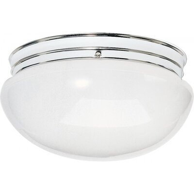 Chacon 2-Light Glass Shade Flush Mount Finish: Silver