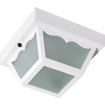 Pothier 1-Light Flush Mount Finish: White, Size: 5.5 H x 10.25 W x 10.63 D