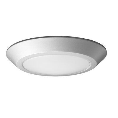 1-Light LED Flush Mount Fixture Finish: Brushed Nickel, Size: 1.19 H x 7.09 W x 7.09 D