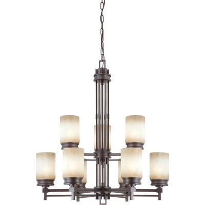 Ridley 9-Light Shaded Chandelier Finish / Glass Finish: Prairie Bronze / Amaretto Glass