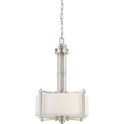 Wright 3-Light Pendant Finish / Glass Color: Brushed Nickel / Satin White