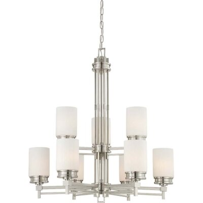 Wright 9-Light Shaded Chandelier Finish / Glass Color: Brushed Nickel / Satin White