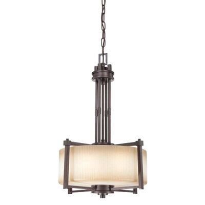 Ridley 3-Light Pendant Finish / Glass Finish: Prairie Bronze / Amaretto Glass
