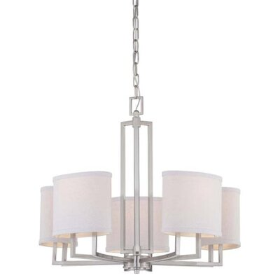 Gemini 5-Light Shaded Chandelier Finish / Shade Color: Brushed Nickel / Slate Gray Fabric