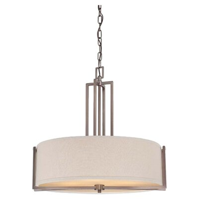 Gemini 4-Light Pendant Finish / Shade Color: Hazel Bronze/Khaki Fabric