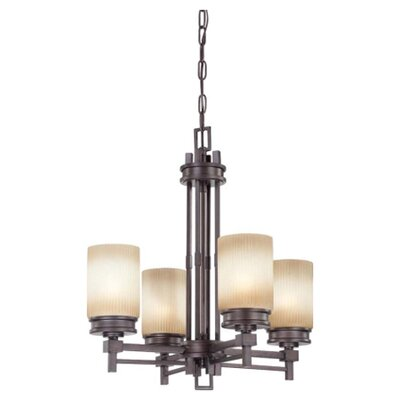Ridley 4-Light Shaded Chandelier Finish / Glass Finish: Prairie Bronze / Amaretto Glass