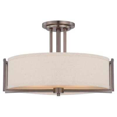 Bouley Contemporary 3-Light Semi Flush Mount