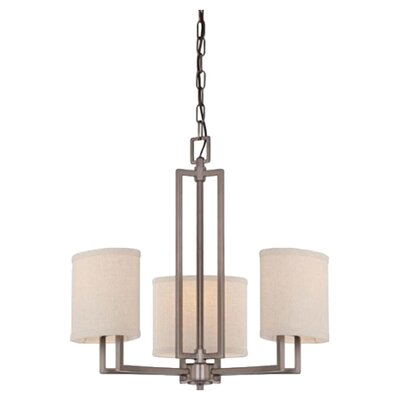 Bouley 3-Light Shaded Chandelier Finish / Shade Finish: Hazel Bronze / Khaki Fabric