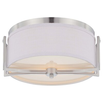 Bobadilla 2-Light Flush Mount Finish / Shade Color: Brushed Nickel / Slate Gray Fabric