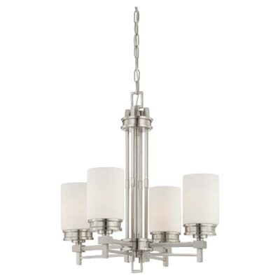 Ridley 4-Light Shaded Chandelier Finish / Glass Color: Brushed Nickel / Satin White