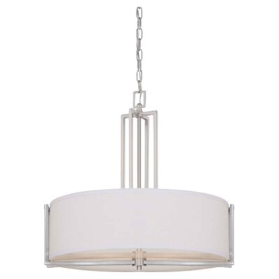 Gemini 4-Light Pendant Finish / Shade Color: Brushed Nickel/Slate Gray Fabric
