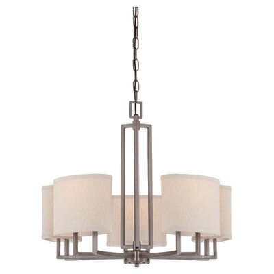 Hassler 5-Light Shaded Chandelier Finish / Shade Finish: Hazel Bronze / Khaki Fabric