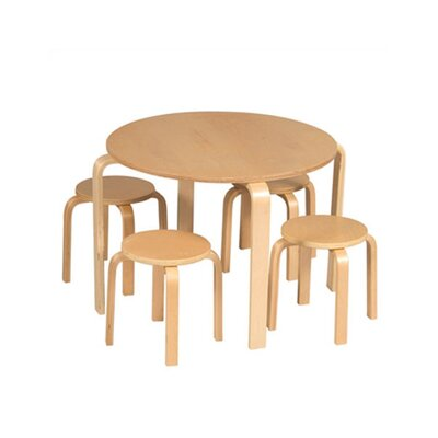 Guidecraft Natural Nordic Kids' 5 Piece Table & Stool Set G81045