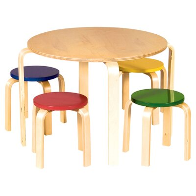 Guidecraft Nordic Kids' 5 Piece Table & Stool Set G81046