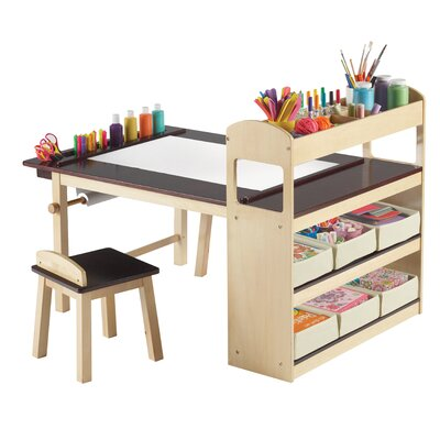 Price compare guidecraft deluxe art center kids 39 table for Arts and crafts sets for toddlers