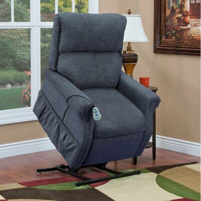 1100 Series Medium 2 Position Lift Chair Moveable Infrared Heat: Yes, Upholstery: Suede Crypton - Fathom