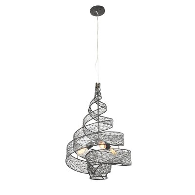 Flow 3-Light Geometric Pendant Finish: Steel, Size: 27 H x 18 W x 18 D