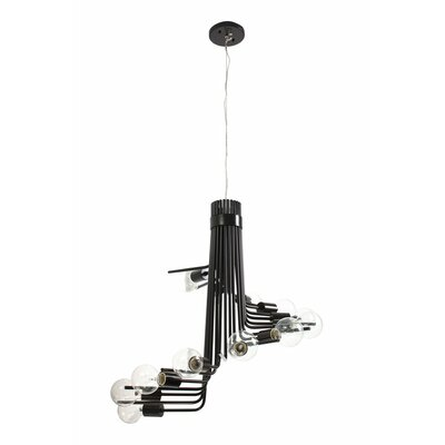 Socket-To-Me 12-Light Waterfall Chandelier Finish: Black