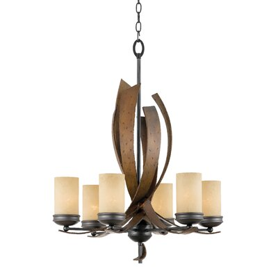 Recycled Aizen 6-Light Shaded Chandelier Glass: Creamy Etched Glass
