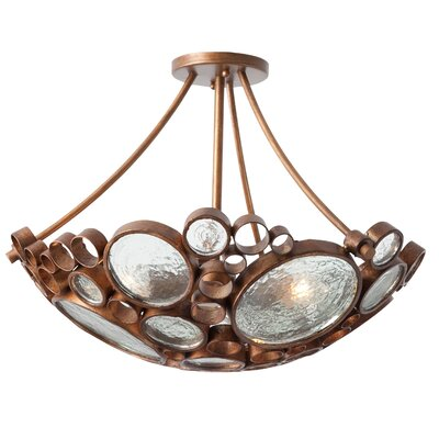 Recycled Fascination 3-Light Semi Flush Mount Ceiling Light Finish: Hammered Ore