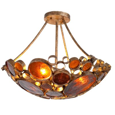 Recycled Fascination 3-Light Semi Flush Mount Ceiling Light Finish: Kolorado with Brown Glass