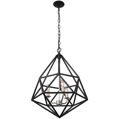 Facet 3-Light Pendant Finish: Forged Iron with Silver Leaf