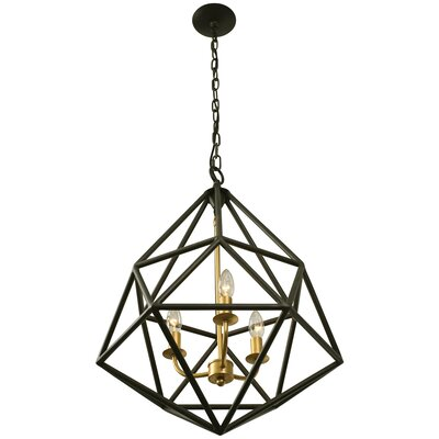 Facet 3-Light Pendant Finish: Forged Iron with Gold Leaf