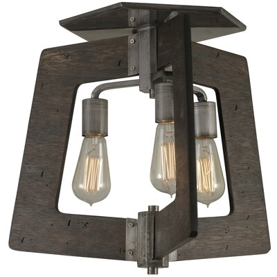 Blayze 3-Light Semi Flush Mount Shade Color: Faux Zebrawood