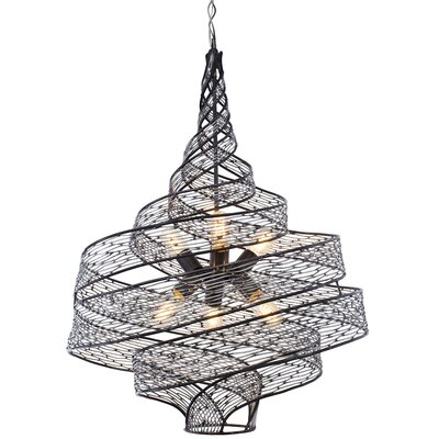 Flow 6-Light Geometric Pendant Finish: Steel, Size: 31.5 H x 26 W x 26 D
