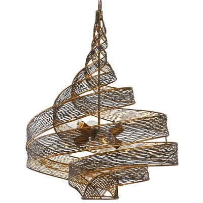 Flow 6-Light Geometric Pendant Finish: Hammered Ore, Size: 31.5 H x 26 W x 26 D