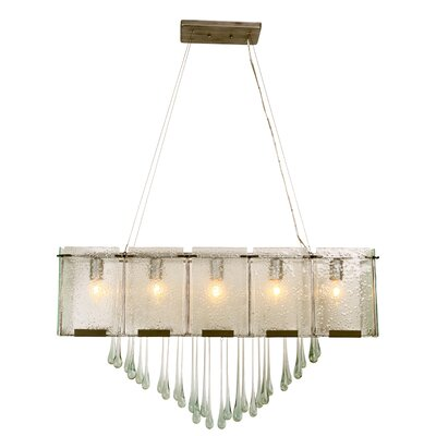 Rain Drops 5-Light Linear Pendant Finish: Rainy Night