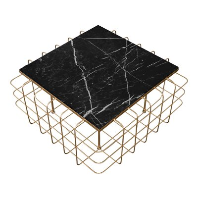Grid Coffee Table Table Base Color: Gold, Table Top Color: Black