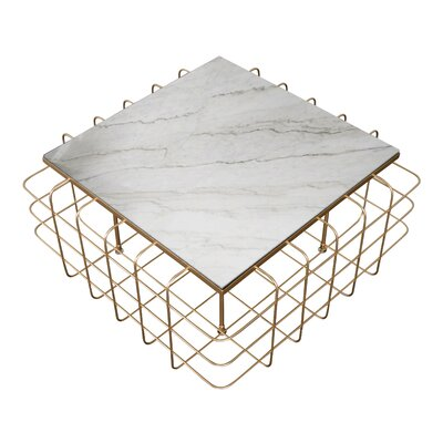Grid Coffee Table Table Base Color: Gold, Table Top Color: White