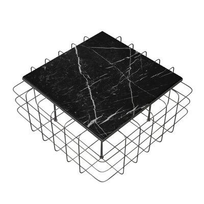 Grid Coffee Table Table Base Color: Rustic Bronze, Table Top Color: Black