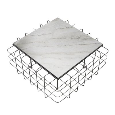 Grid Coffee Table Table Base Color: Rustic Bronze, Table Top Color: White