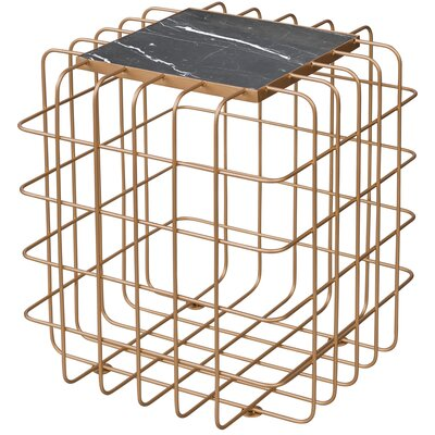 Grid End Table Table Base Color: Gold, Table Top Color: Black