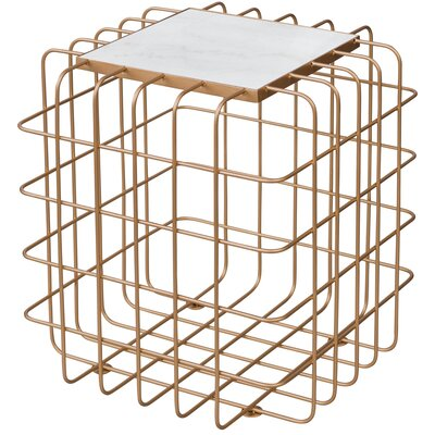Grid End Table Table Base Color: Gold, Table Top Color: White