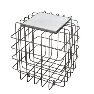 Grid End Table Table Base Color: Rustic Bronze, Table Top Color: White